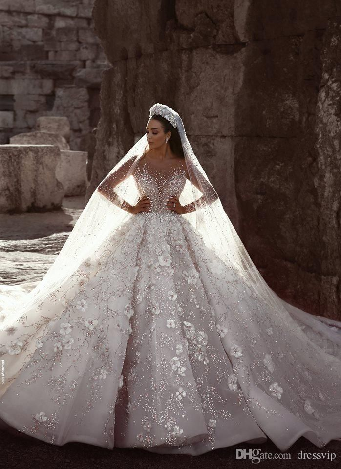 Discount Crystal Appliqued Mermaid Wedding Dresses Tulle Ball Gown