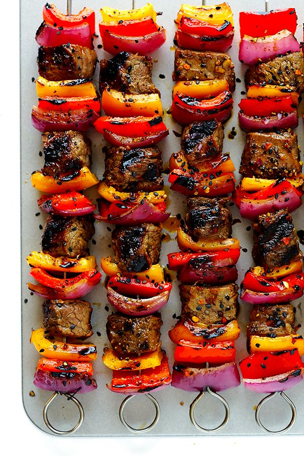 This Korean Steak Kabobs recipe is made with a super-easy, flavorful marinade, and grilled to perfection with any vegetables you'd like. | gimmesomeoven.com
