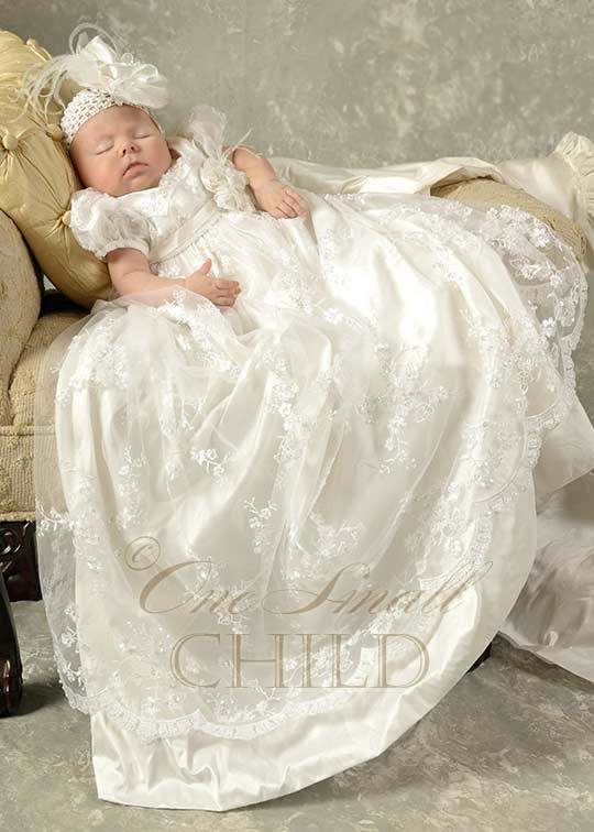 Preslee Beaded Silk Christening Gown: rich details include delicate beads, freshwater pearls, and wispy ostrich feathers. A must-see!