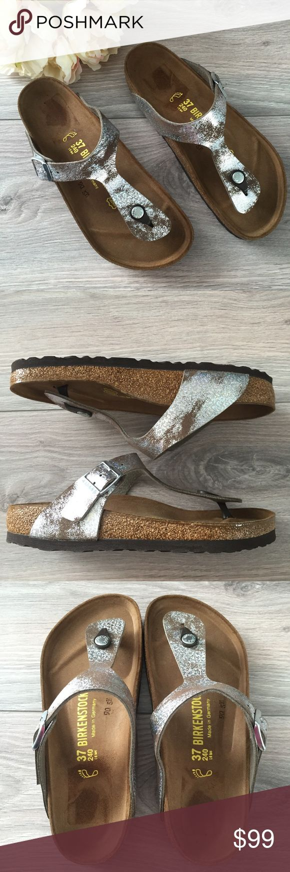 Birkenstock Gizeh in stardust stone Super comfortable yet fashionable Birkenstock sandals in Gizeh style and stardust stone color. Has adjustable straps and cork sole. Brand new and never worn, only flaw is minor discoloration on sole due to store sticker  tag. Birkenstock Shoes Sandals