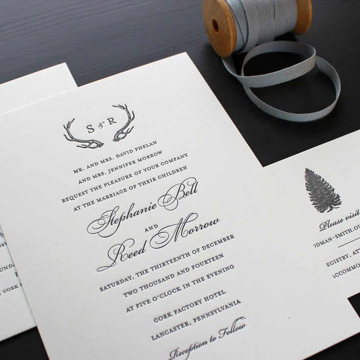 funny wedding invitation rsvp goes viral%0A Rustic Winter Letterpress Wedding Invitation
