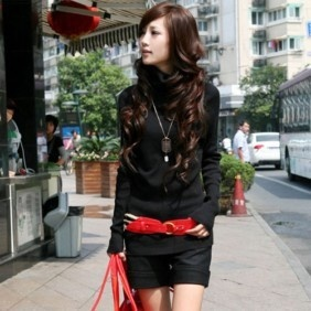 Korea Women's Rotary Heap Collar Knitting Slim Sweater Long Bottom Shirt