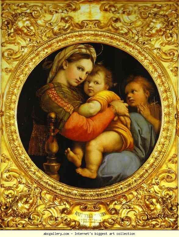 Raphael. Madonna della Sedia. 1512-1514. Oil on panel. Palazzo Pitti, Galleria Palatina, Florence, Italy.