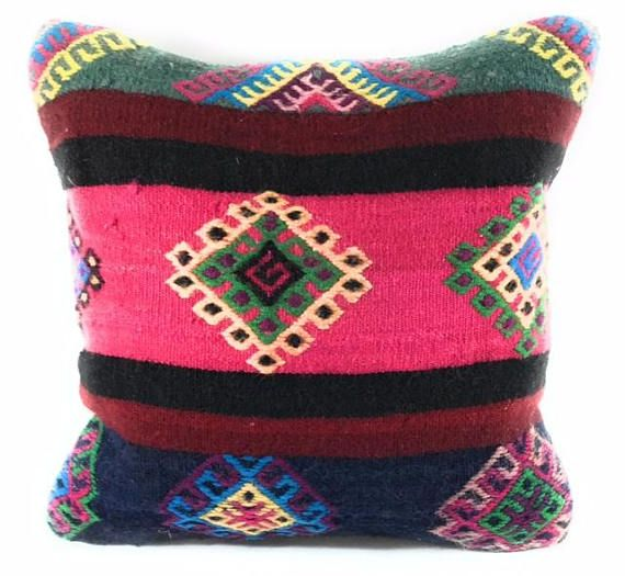 $14 Enrich your decor with these eye-catching and stunning 16-inch throw pillows. These beautiful pillows are hand-crafted from flat-weave kilims, which are known as pile-less rugs; the design is also known as slit-weave, Handmade Woven. These intricate designs are achieved by interweaving