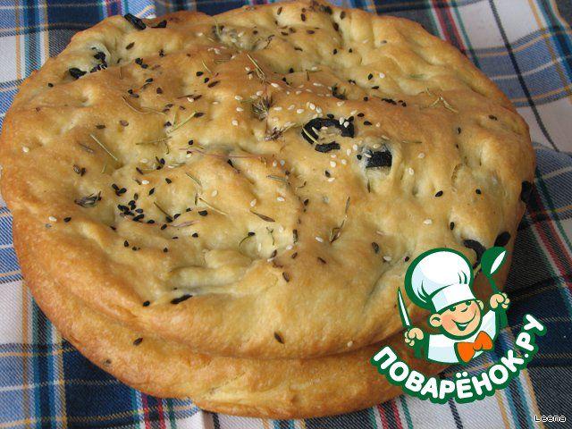 Фокачча с пряными травами, маслинами и чесноком - кулинарный рецепт