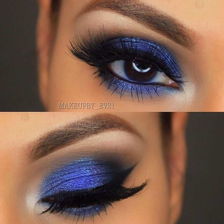 I LOVE this bold blue look by @makeupby_ev21 She used Makeup Geek foiled eyeshadow in Center Stage all over her lid with some Shark Bait eyeshadow.