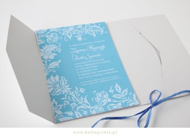 Eleganckie turkusowe zaproszenie ślubne w folderze