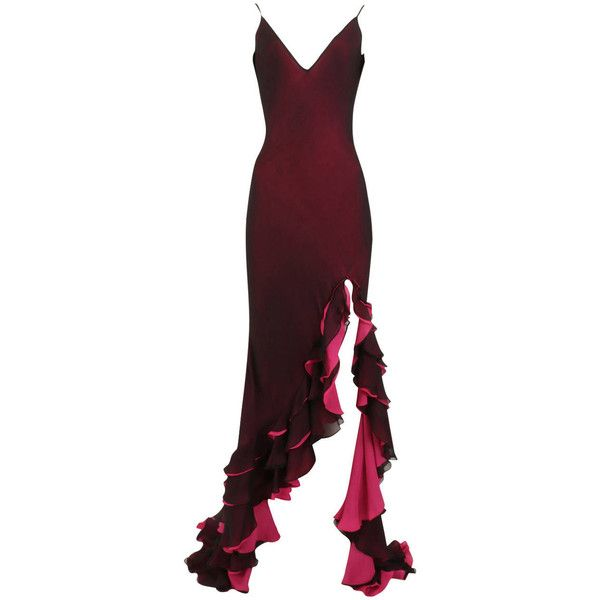 Pre-owned Maria Grachvogel Dark Purple and Fuchsia Ombre Flamenco... (£1,300) ❤ liked on Polyvore featuring dresses, gowns, ball gowns, evening dresses, preowned evening gowns, fuschia dress, ruffle dress, shirred dress and ruching dress