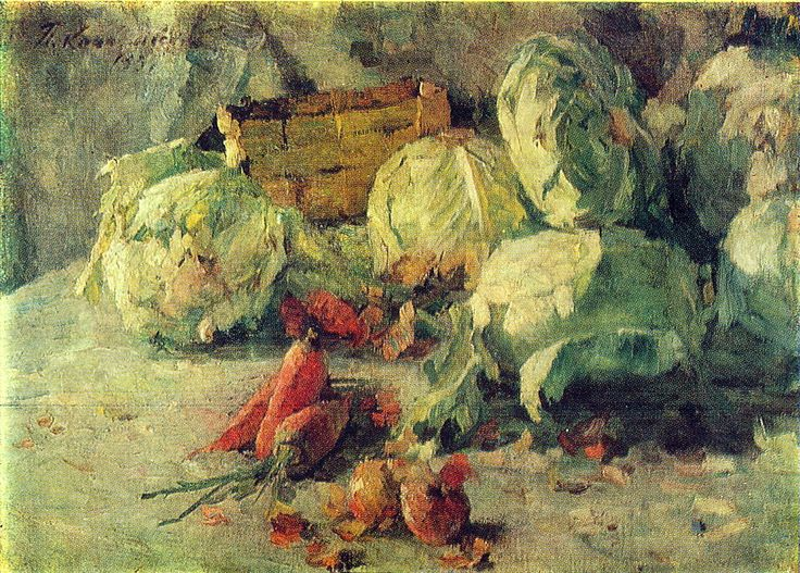 Pyotr Konchalovsky - Still Life with Cabbage, 1937 Peeling cabbage and onions