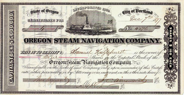 Oregon Steam Navigation Co., Portland, Oregon, Aktie von 1877 + ÄUSSERST SELTEN!