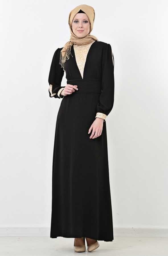 Puane Dantel Detaylı Abiye Elbise-Siyah 4356-001-01