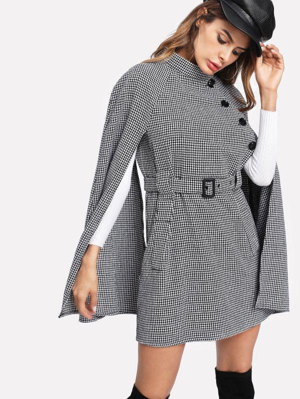 Self Belted Houndstooth Cape Coat -SheIn(Sheinside)   Closet wishes ... 7489a5237e93