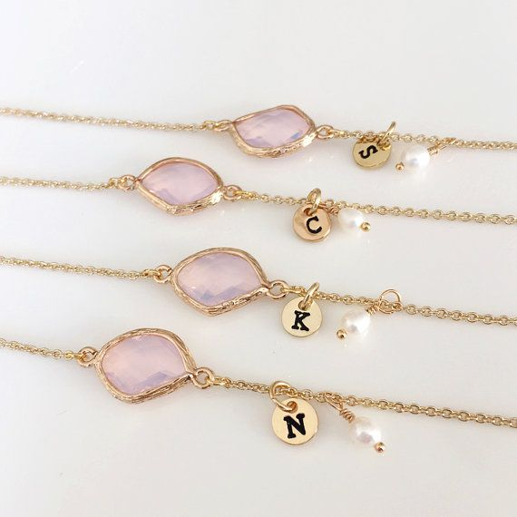 Bridesmaids Bracelet Gift, 14K Gold Plated, Personalized BirthStones initial Bracelet, flower girl, White Pearl Bracelet wedding jewelry  ----Please