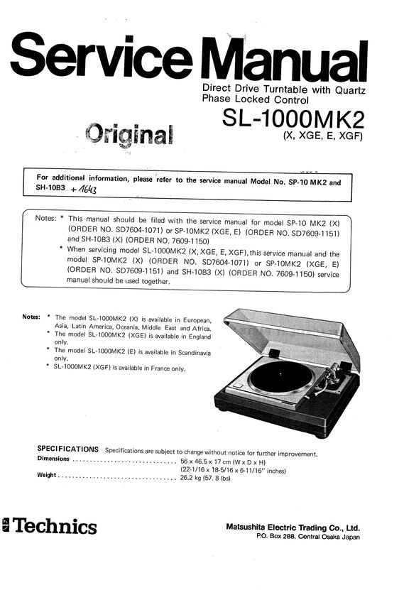 Technics SL-1000 mk2 Turntable , Service Manual * PDF