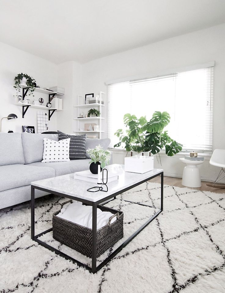 west elm black and white modern living room by amy kim of homey oh my