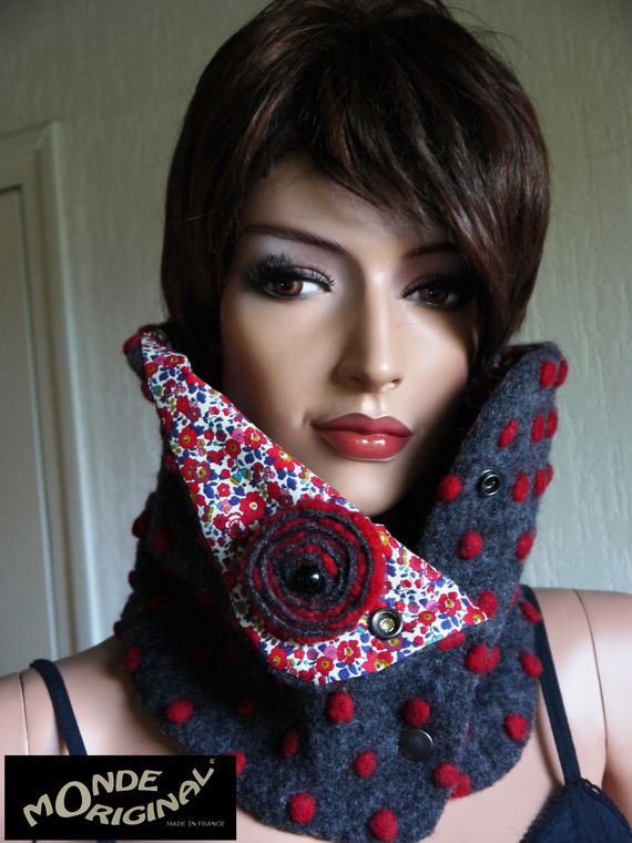 Col snood écharpe tube anthracite laine bouillie liberty Betsy Anne