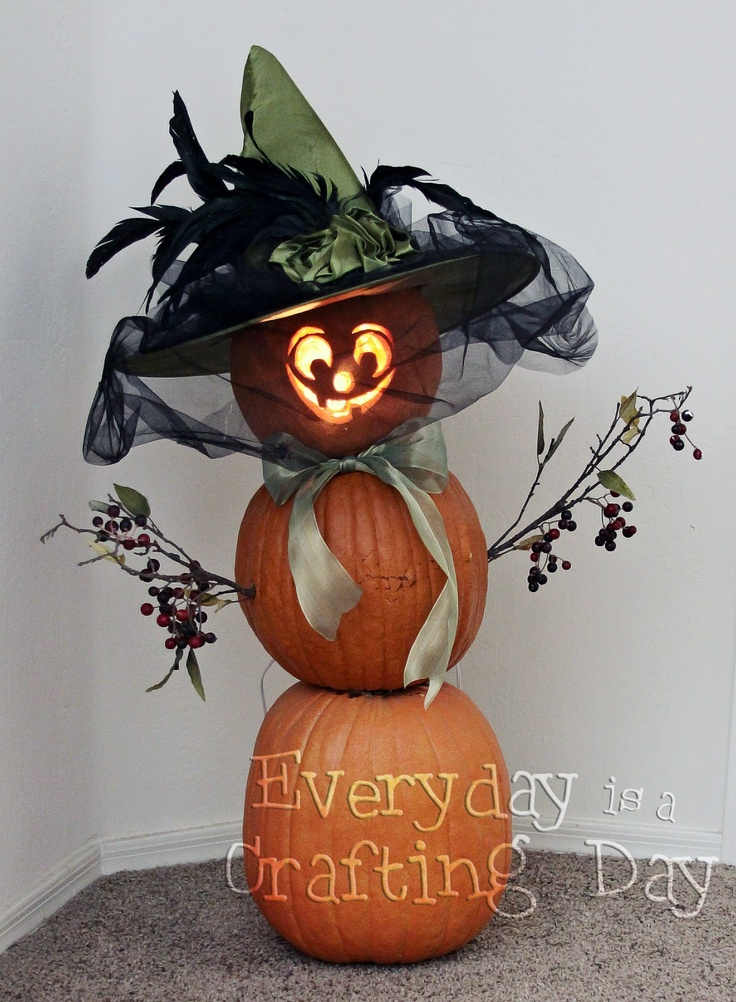 """I wonder if you could substitute foam pumpkins for the real ones to make this adorable """"Witchkin""""?"""