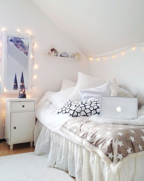 White Bedroom. Love fairy lights. Cute for a little girls room- fairy lights instead of a nightlight | Bedroom | Room | Decoration | Décor | Home Design | Organization | Architecture | Quarto