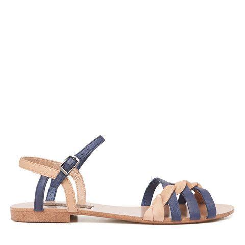 Wanderlust Twisted Sandal - Midnight Blue/Camel – Harlequin Belle