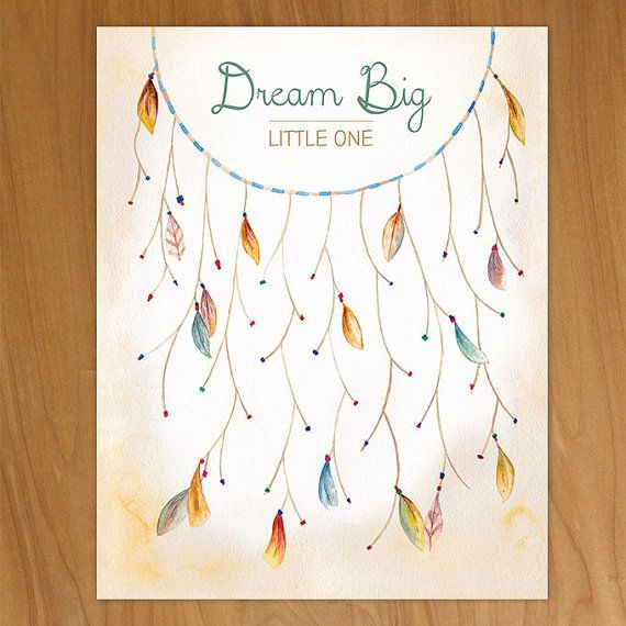 Dreamcatcher Thumbprint Guestbook Baby by HandPaintedWeddings
