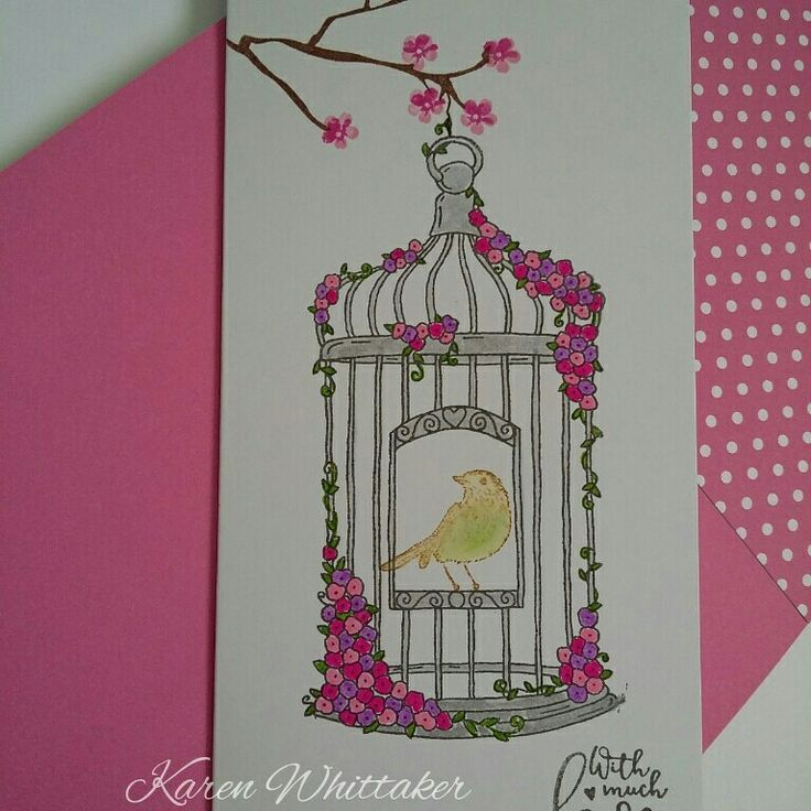 For The Love of Stamps Blossoming Birdcage.  #fortheloveofstamps #hunkydorycrafts #blossomingbirdcage #birdcage #stamping #stamps #kuretakezig  #cards #cardmaking #handmade