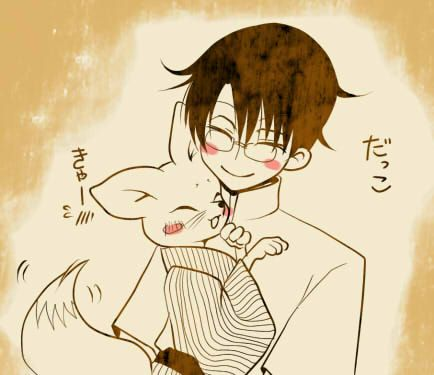 xxxHolic ~~ Watanuki and the adorable chibi Kitsune having a snuggle.