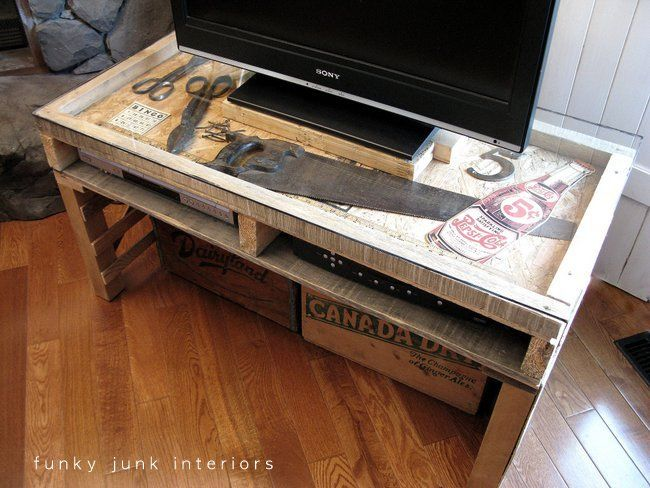 Pallet TV stand with junk showcase and crate storage, by Funky Junk Interiors