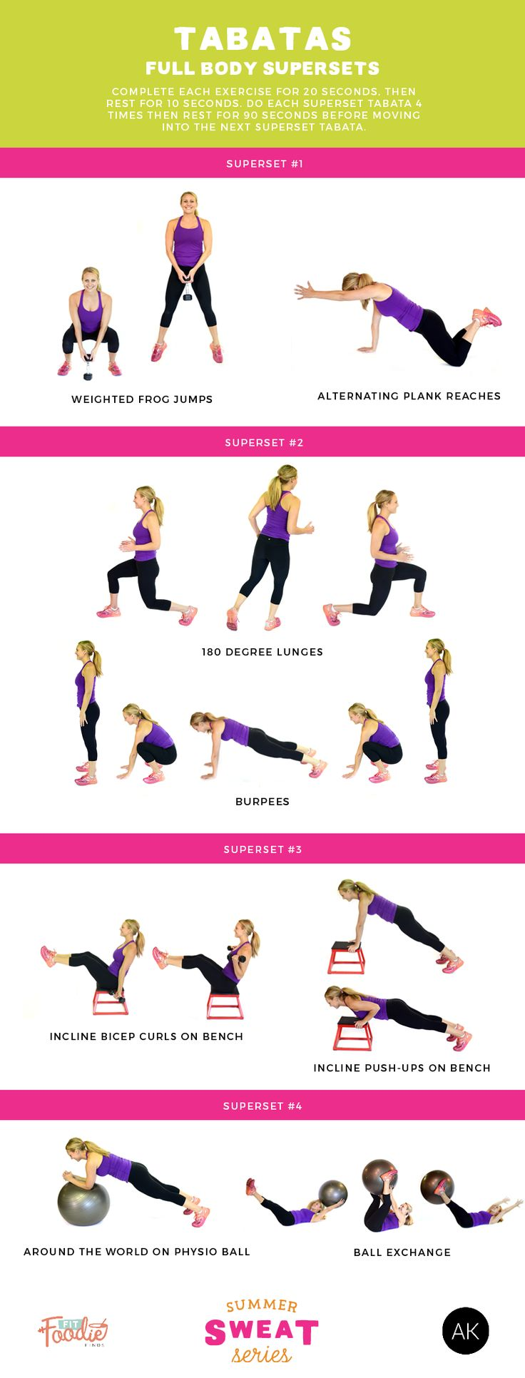 For a quick yet effective fat burning workout, do this full body superset tabata workout! You'll be sweating in no time! #SummerSWEATSeries