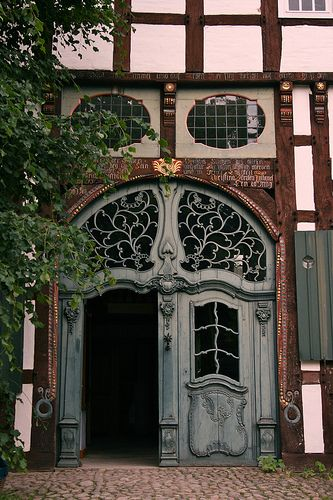 Art nouveau door and transom: