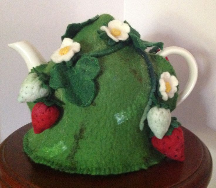 Felted Strawberry tea cosy