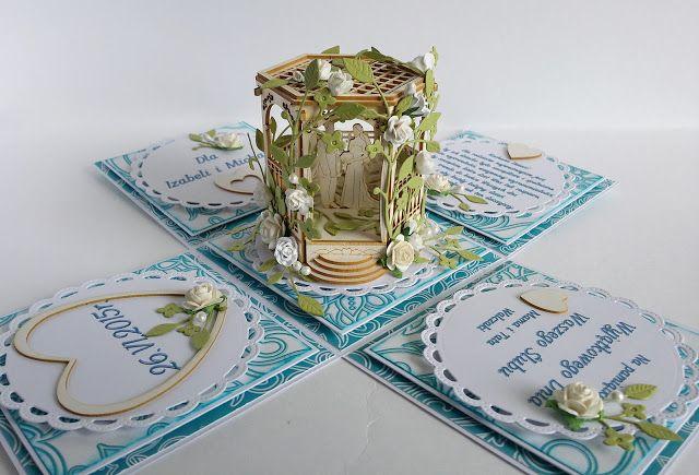 Papierowe chwile zielonejliszki, white and blue exploding box