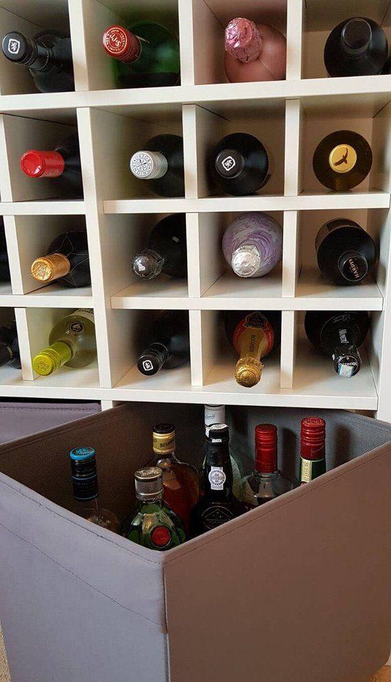Insertion Du Panier A Vin Pour Ikea Kallax Rangement Expedit Etsy Cube Unit Wine Rack Champagne Bottles