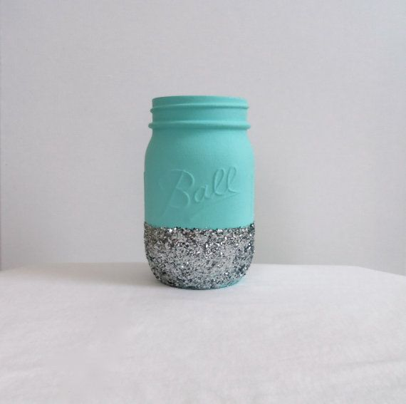 Tiffany Blue Glitter Mason Jar - Perfect for Makeup Brushes, Toothbrushes, Pens, Pencils, Etc on Etsy, $7.85
