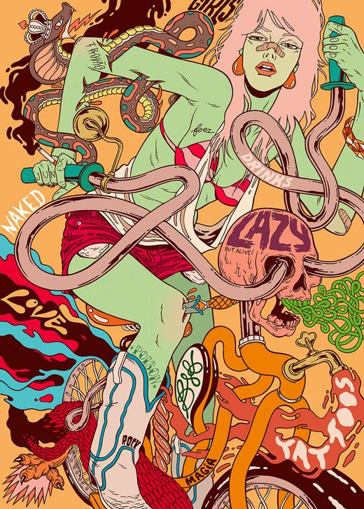Bicicleta sem Freio (Bicycle No Brakes) is a group of illustrators who make and design posters. The group is comprised of Douglas Castro, Victor Reyes and Renato Reno of Goiania, Brazil. All of their illustrations are hand made using pencils, ink and other materials.