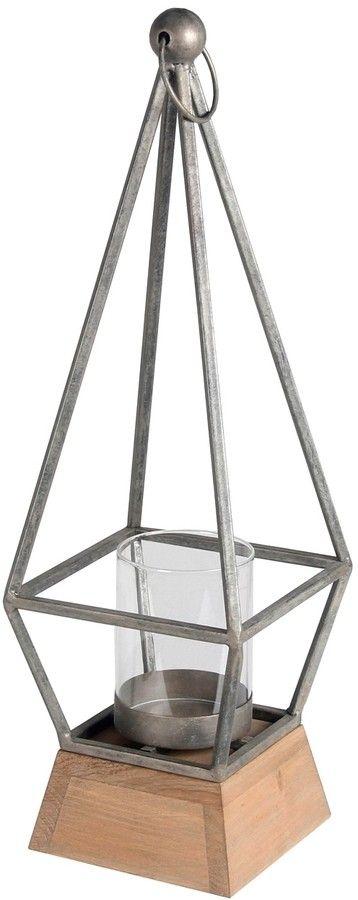 Votive candle lantern. Iron, wood, and glass.  Love the shape of this. #candlelantern #votiveholder #ad #Votiveholder