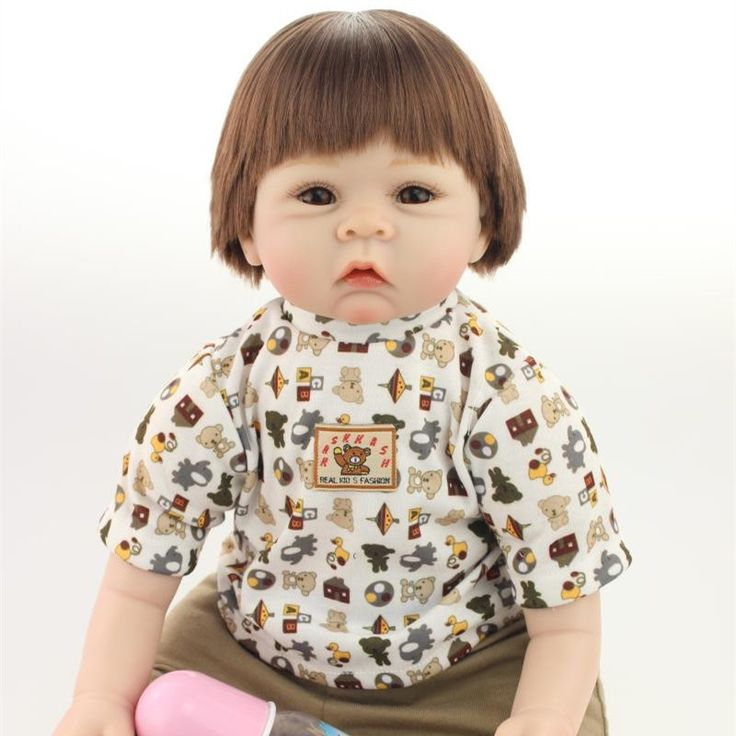 117.80$  Buy now - http://aliko0.worldwells.pw/go.php?t=32719294716 - Cute Short Brown Hair Silicone Reborn Dolls With Cotton Body For Baby Girl Cheap 22 Inch Realistic Reborn Babies For Adoption  117.80$