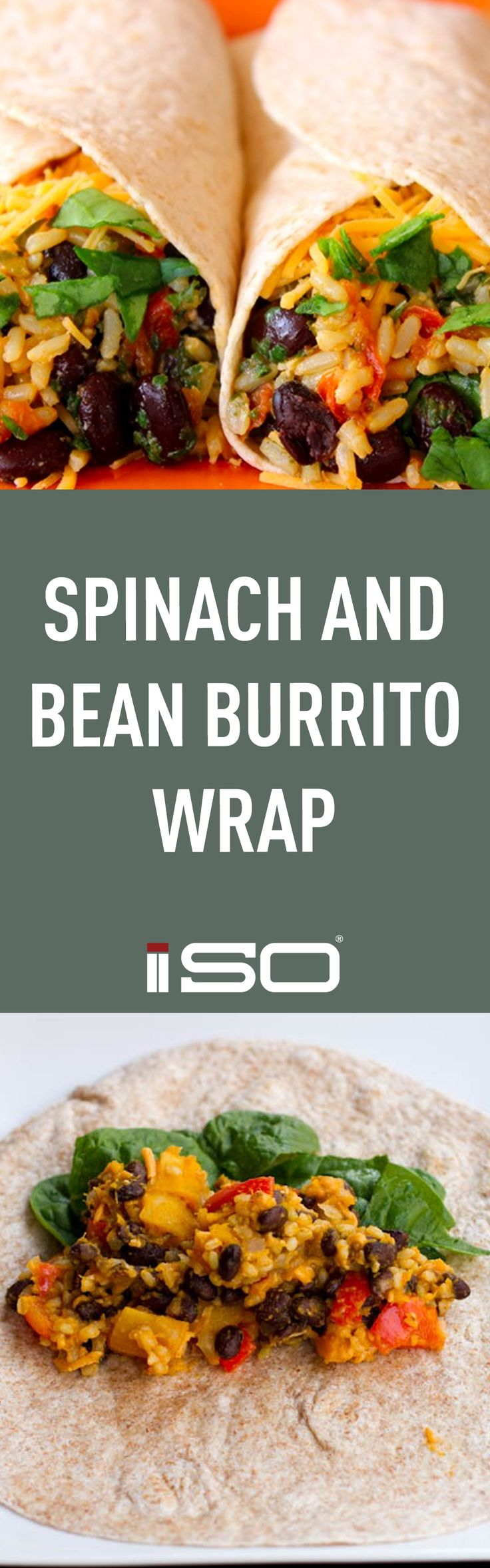 Spinach Bean Burrito Wrap. Easy, Healthy Recipe. Healthy Lunch.