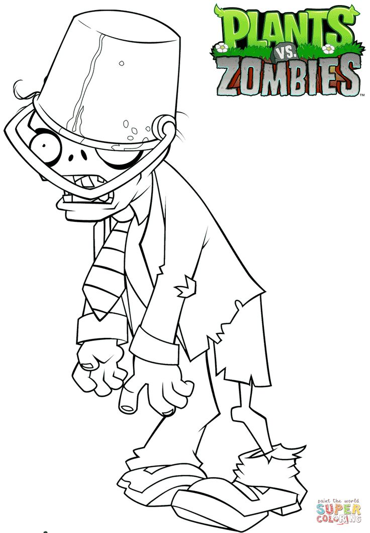 Click The Plants Vs Zombies Buckethead Zombie Coloring Pages To View Printable Version Or Color