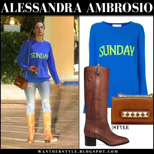 Alessandra Ambrosio in white knit sweater and brown leather knee boots