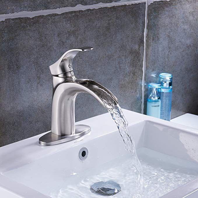 Yodel Single Handle Waterfall Bathroom Sink Faucet (Brushed Nickel