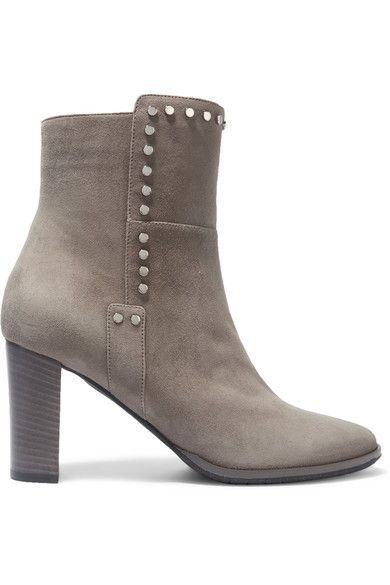 Jimmy Choo - Harlow Embellished Suede Ankle Boots - Gray - IT