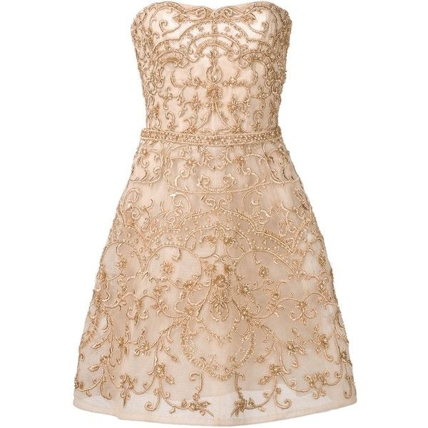 Monique Lhuillier beaded strapless dress (448.315 RUB) ❤ liked on Polyvore featuring dresses, beige dress, beige strapless dress, monique lhuillier, beading dress and beaded cocktail dress