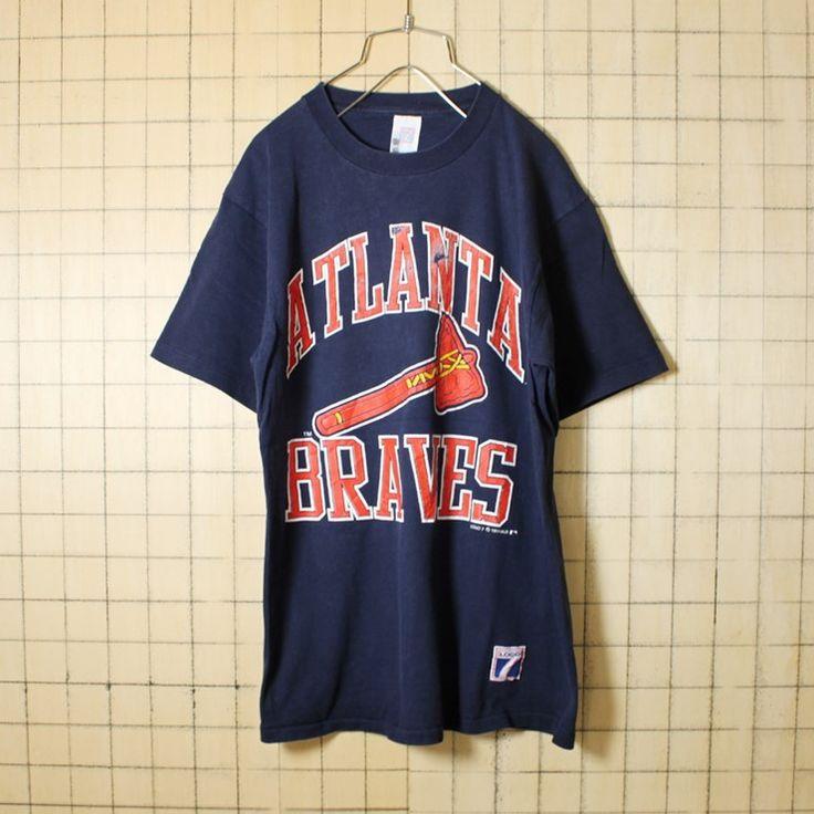 USA製 90s 古着 ネイビー プリント Tシャツ 半袖 MLB ATLANTA BRAVES アトランタ ブレーブス メンズL LOGO7 アメリカ古着