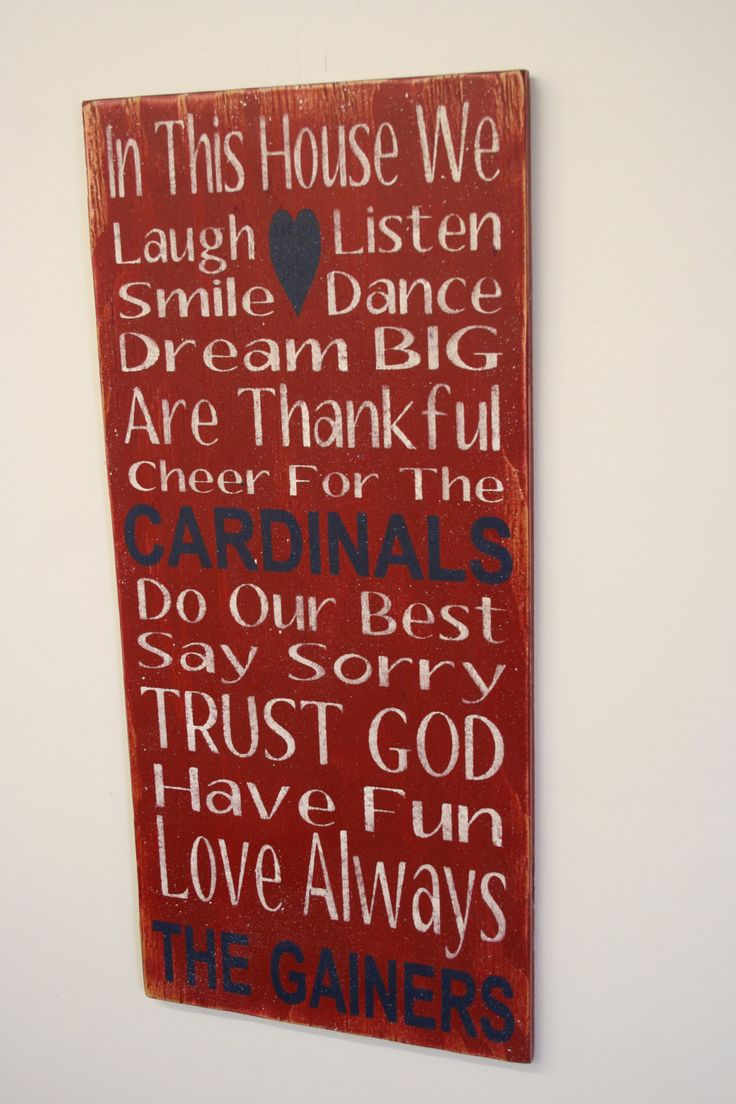 Family Rules Sign Cardinals Team Sign Custom Sign Personalized Sign Mancave Bridal Shower Gift Distressed Wood Handpainted