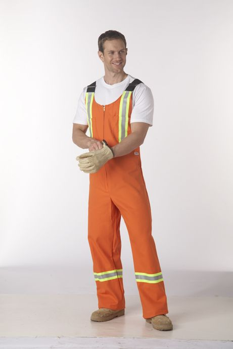 Bib Overall with Hi-Vis Reflective Tape : A Classic Bib Overall perfect for all sorts of jobs in all sorts of weather. Featuring adjustable suspenders, 2 chest pockets, 2 lower back patch pockets, 2 lower front slant pockets and a zipper closure