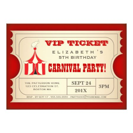 Vintage Circus Carnival Birthday Party Ticket Personalized Announcements