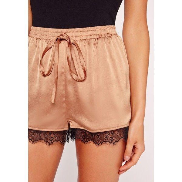 Silk Lace Hem Shorts Rose Gold ❤ liked on Polyvore featuring shorts, silk shorts, lace shorts and lacy shorts