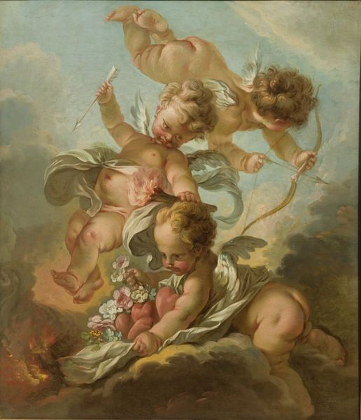 Allegory of Fire François Boucher (1703-1770)   Oil on canvas late 18th century-early 19th century  This painting is a copy after a composition signed and dated by Boucher in 1741 but now lost. It depicts the allegory of Fire and originally belongs to a cycle of four paintings representing the Elements.  This work is a fine example of the early career of Boucher, who already pervaded his oeuvre with mischievous pastoral scenes which would become the hallmark of his art and eventually of the…