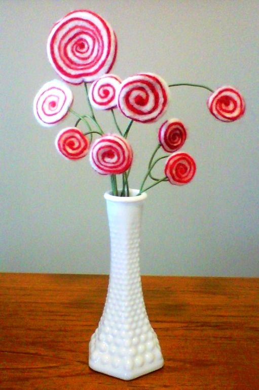 felted peppermint boquet