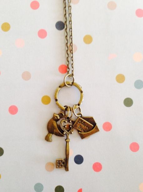 sweater chain with wee key, bird and love note all on sparkle ring - Lolalolalola